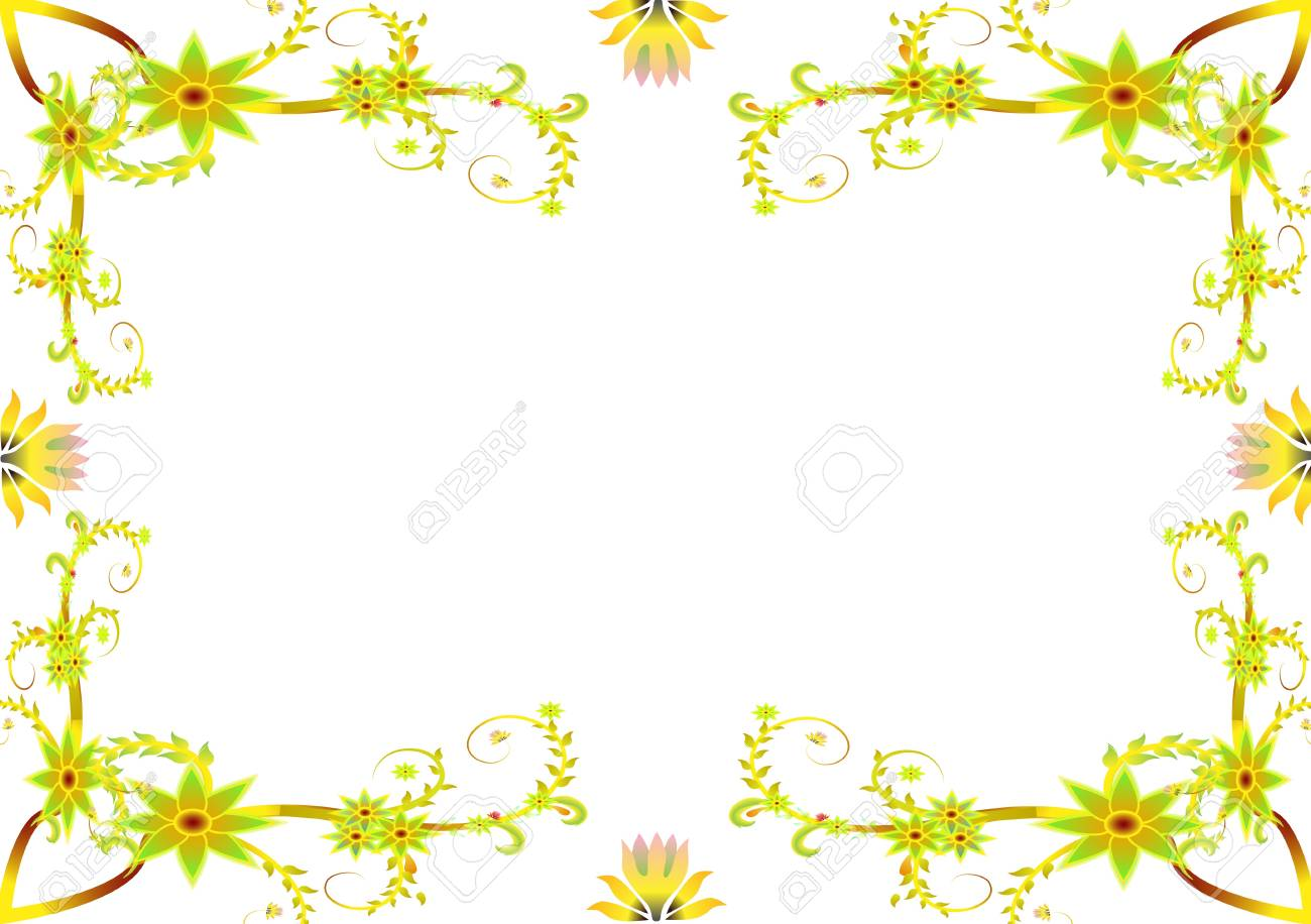 Flower Frames Suitable For Wedding Invitations Or Birthday Cards
