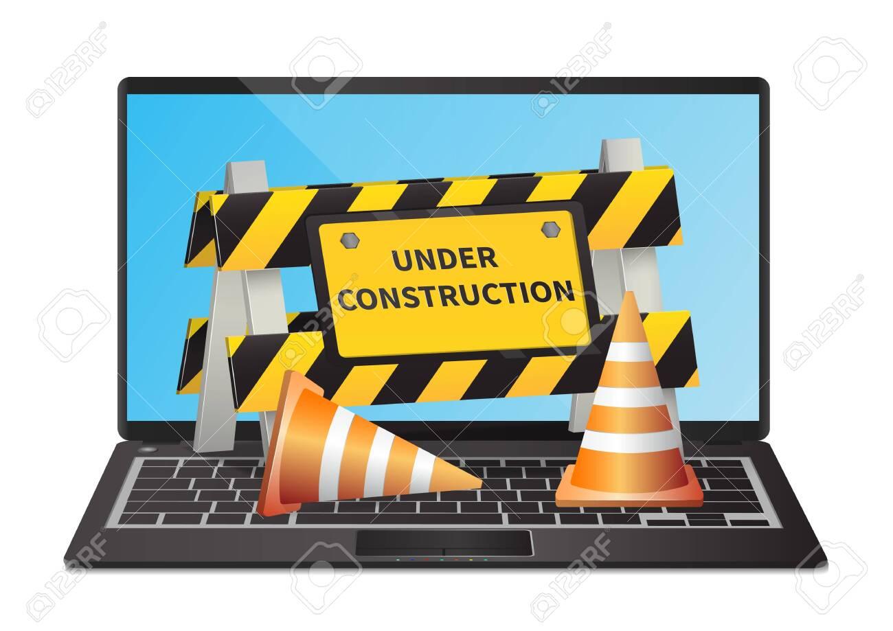 Under construction website page on laptop illustration - 154898468