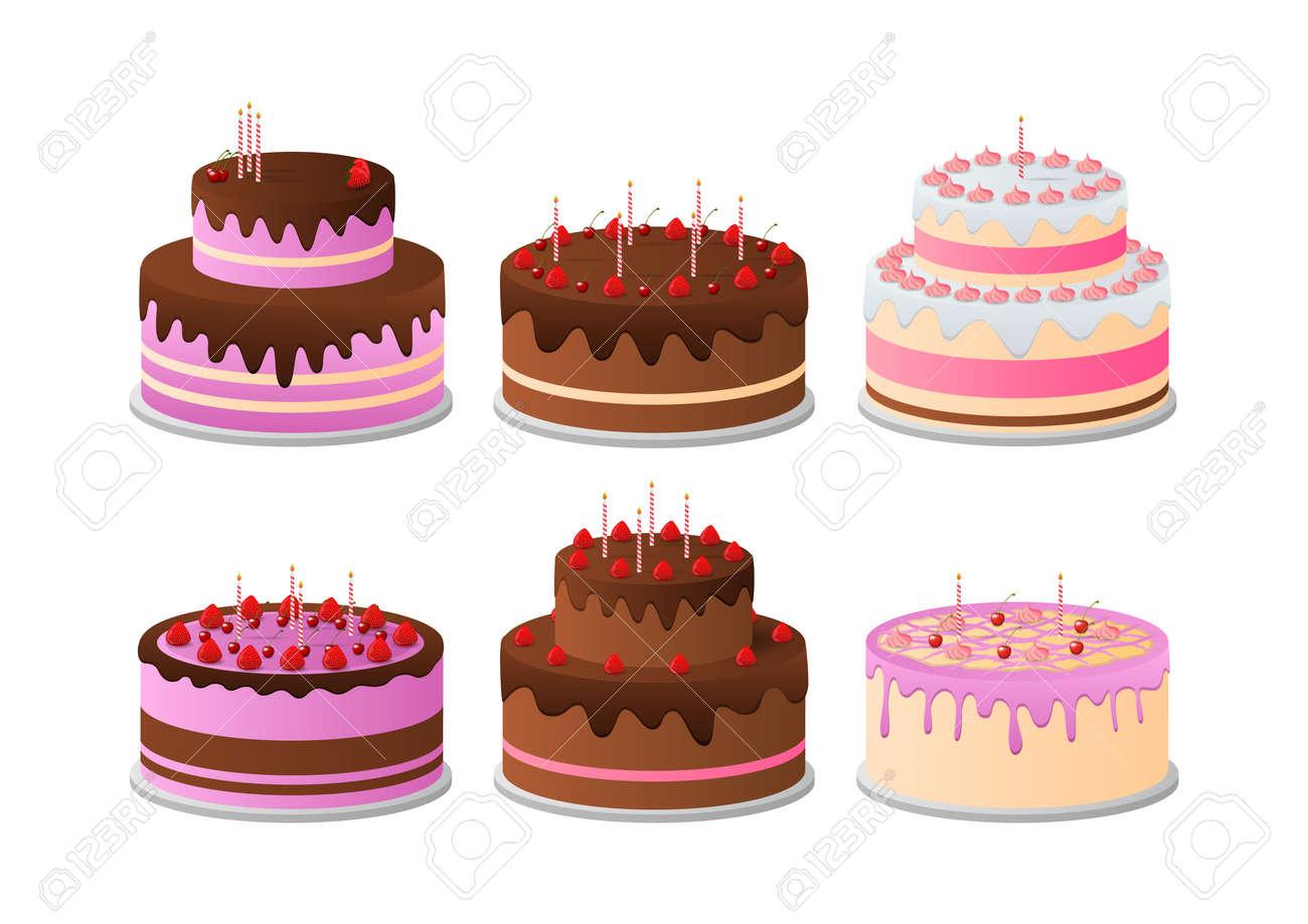 Set of Birthday Cakes. Birthday Party Elements. - 156383132