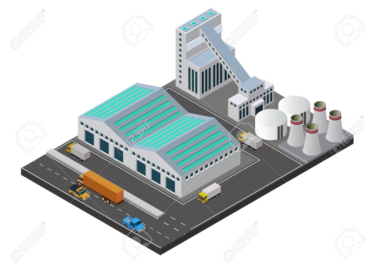 Vector illustration isometric Industrial buildings composition with view of the facilities like chimney - 156383049
