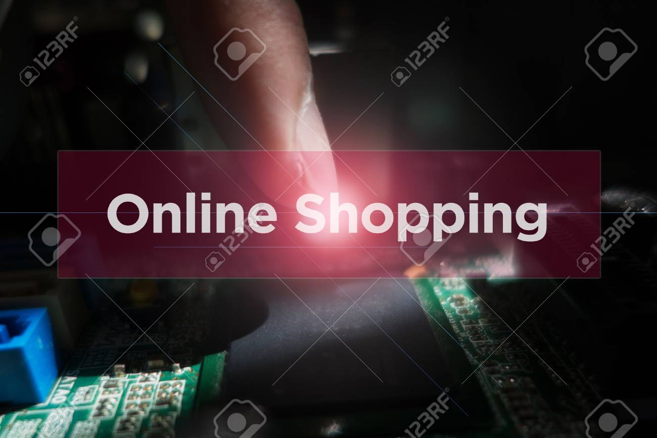 close up of electronic circuit board with word online shopping
