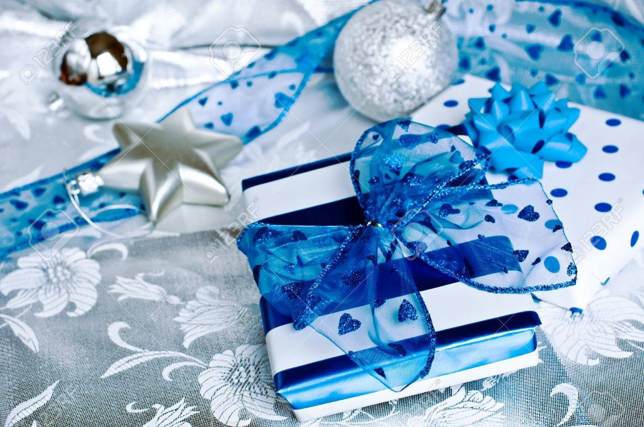 Christmas Theme With Blue And White Gifts Stock Photo Picture And