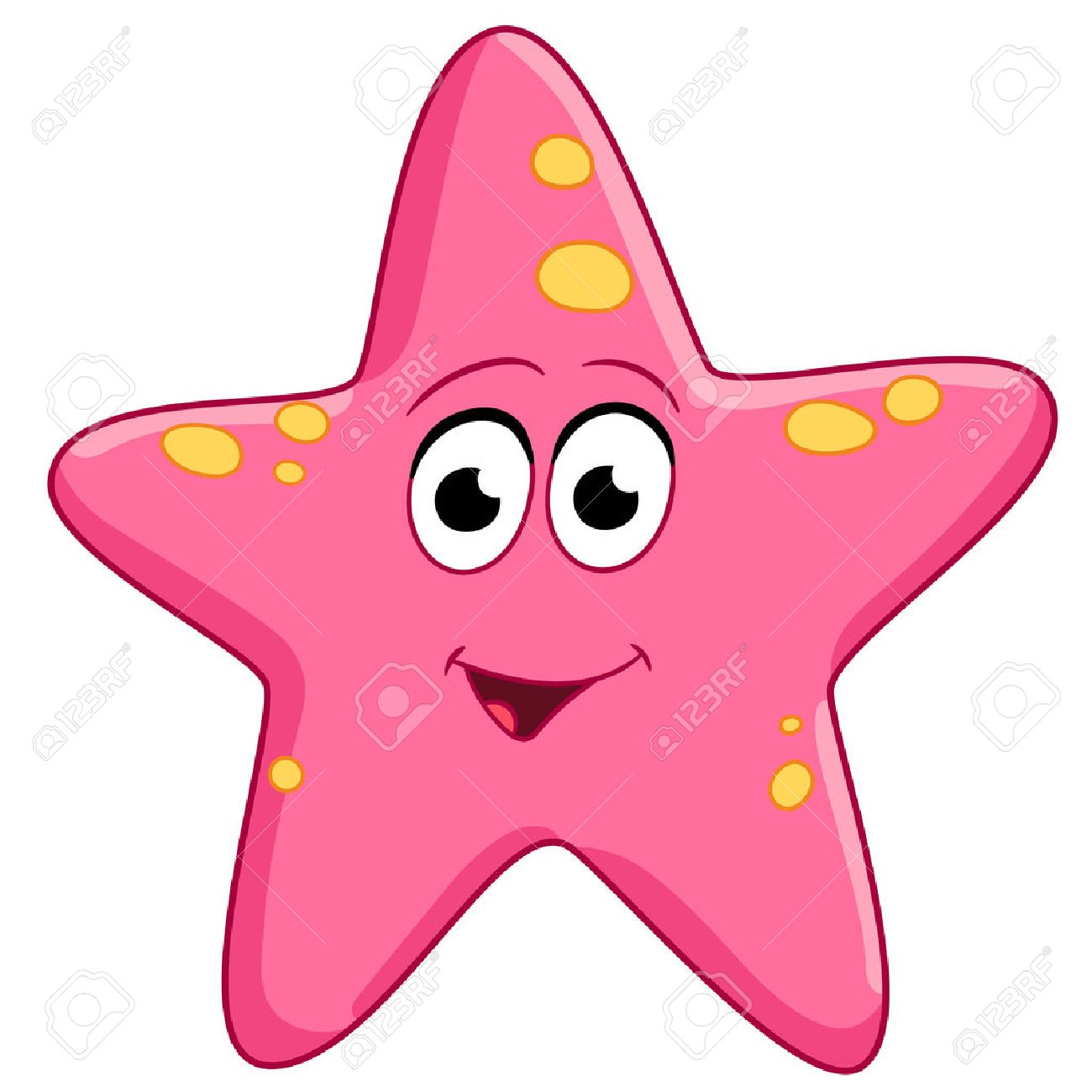 Spotted Pink Starfish Is Smiling Royalty Free Cliparts, Vectors ... for Pink Starfish Clipart  535wja