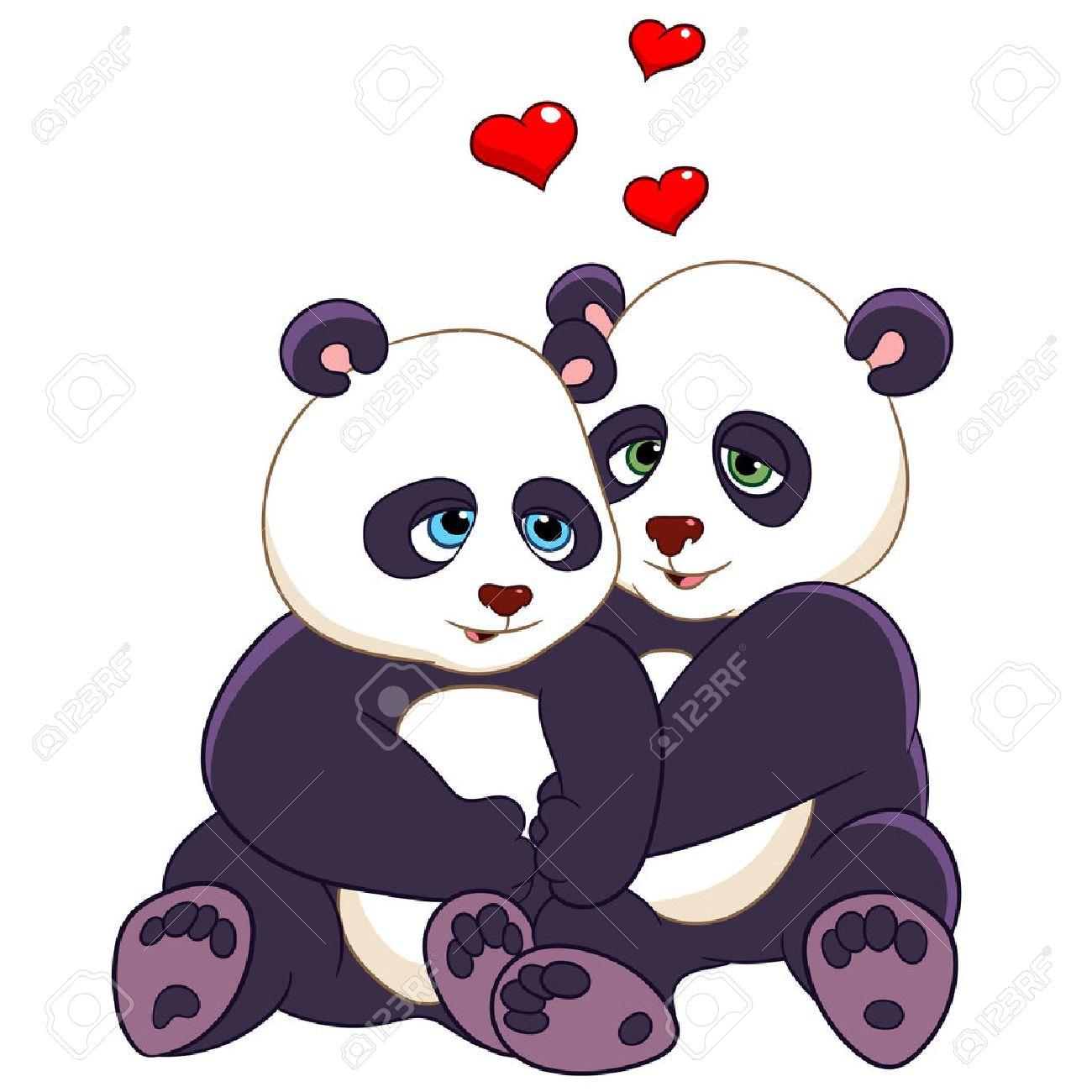 Dos Pandas Estan Abrazando Con Amor Ilustraciones Vectoriales