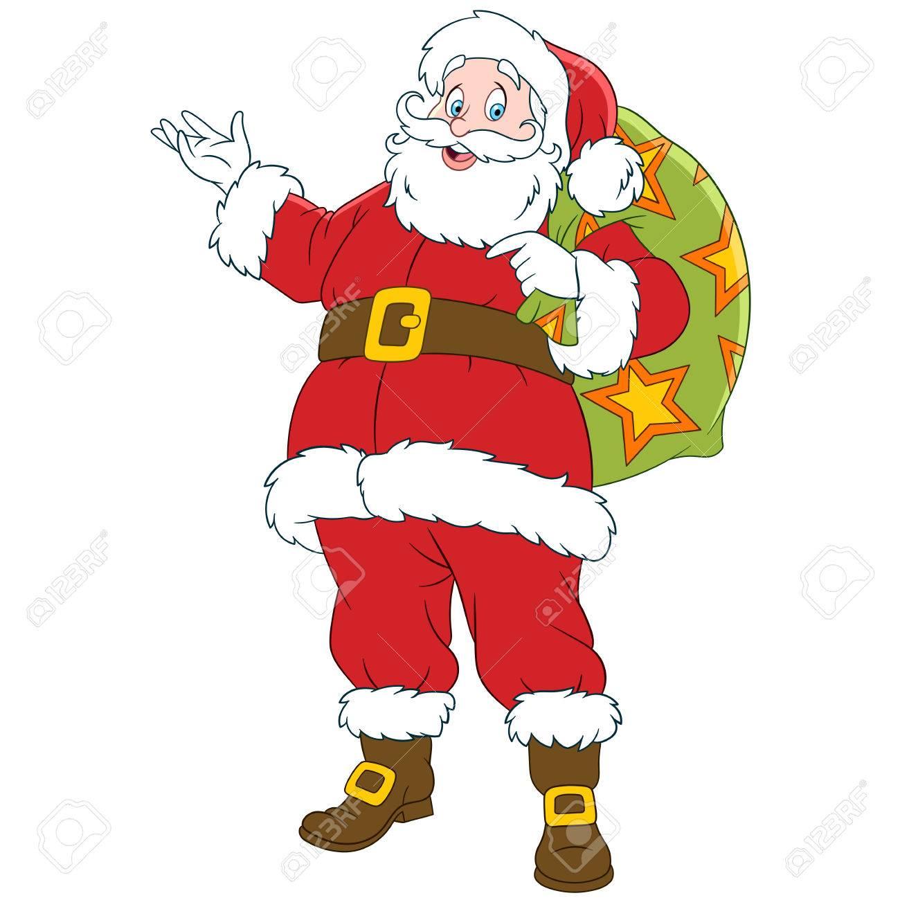 Imagenes De Papa Noel Animado.Feliz Ano Nuevo Dibujo Animado De Santa Claus Con Un Saco De Regalos