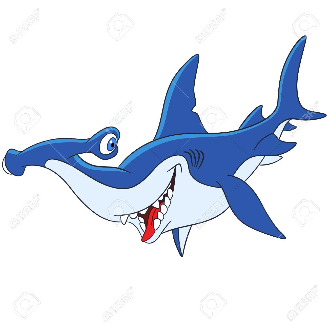 Lindo Y Feliz, Pero Peligroso Tiburón Martillo De Dibujos Animados ...