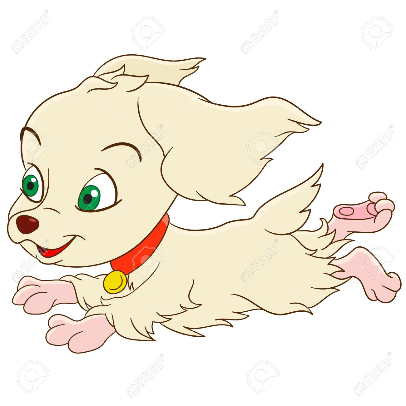 cute and happy cartoon girlish spaniel dog is quickly and lively