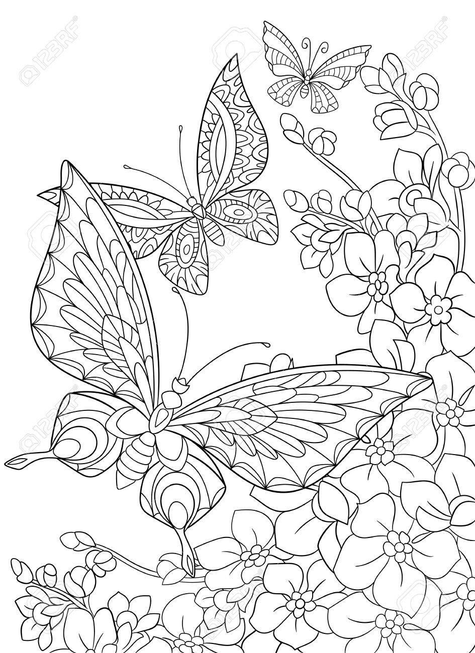 白い背景に分離された様式化された漫画蝶と桜の花大人の抗ストレス