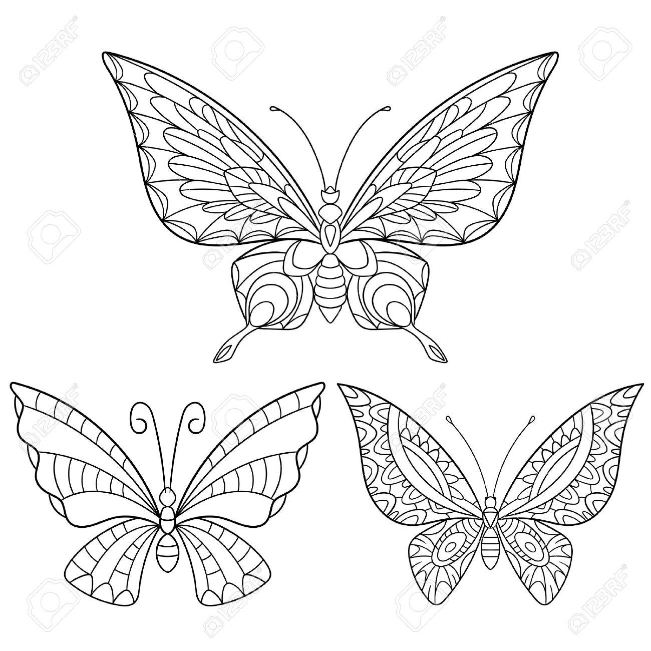 Colección De Dibujos Animados Estilizada De Mariposas Aisladas Sobre ...