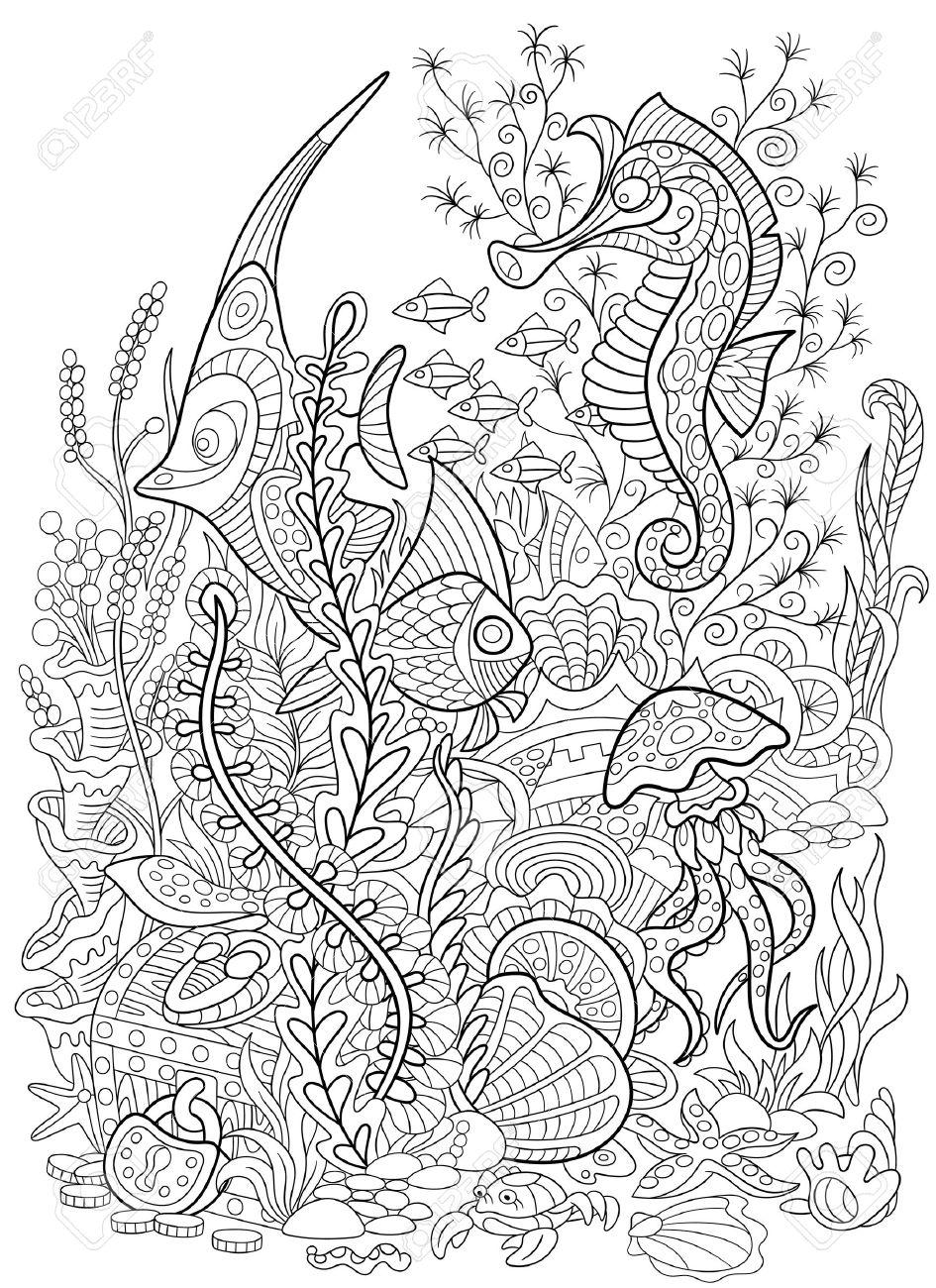 Stilisierten Cartoon-Fisch, Seepferdchen, Quallen, Krabben, Muscheln ...