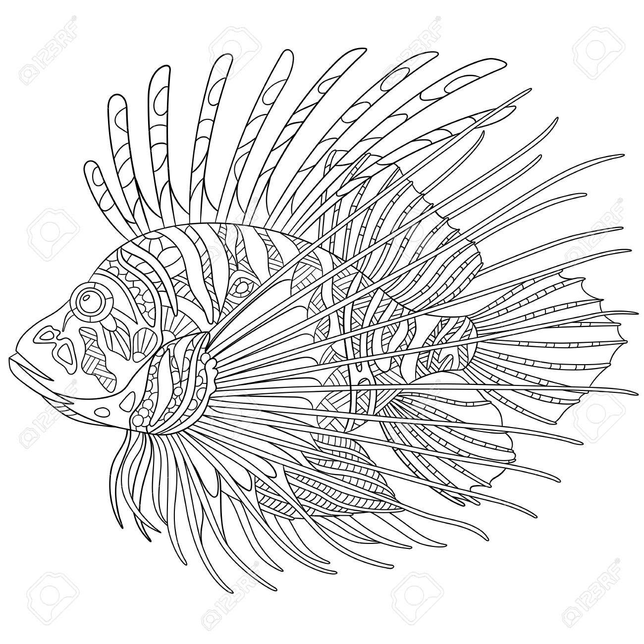 Stylized Cartoon Zebrafish (lionfish,pterois Volitans), Isolated ...