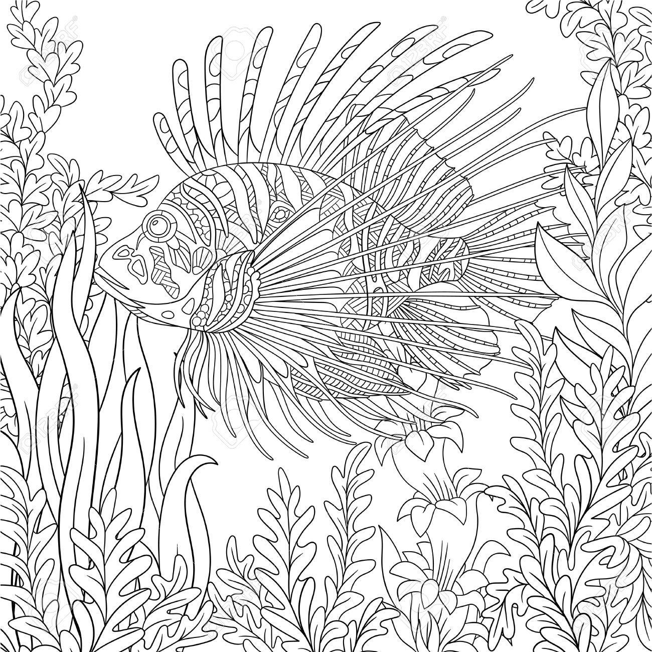 Stylized Cartoon Zebrafish (lionfish,pterois Volitans) Is Swimming ...
