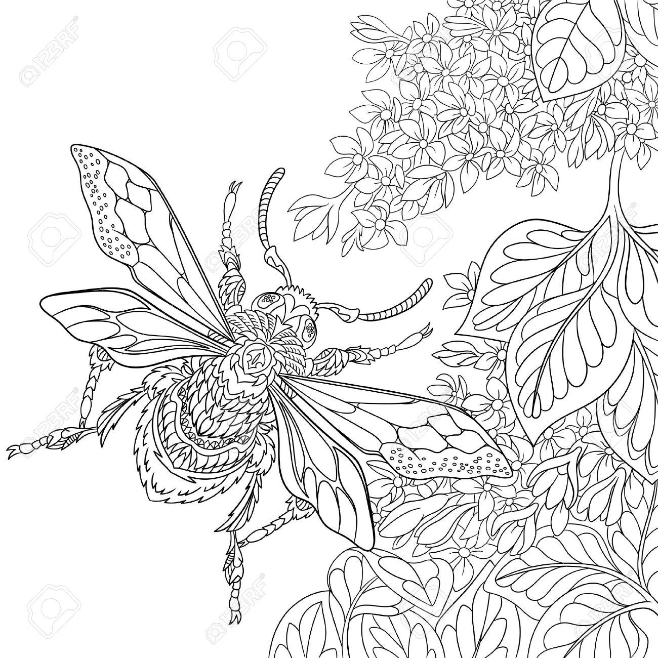 Coloriage Fleur Insecte.Dendroctone Du Dessin Stylise Insecte Volant Autour Des Fleurs De