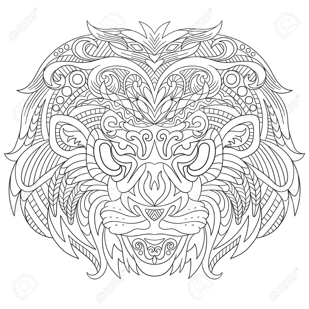 Detailed Coloring Books For Kids: Zendoodle Animal Designs; Lion ... | 1300x1300