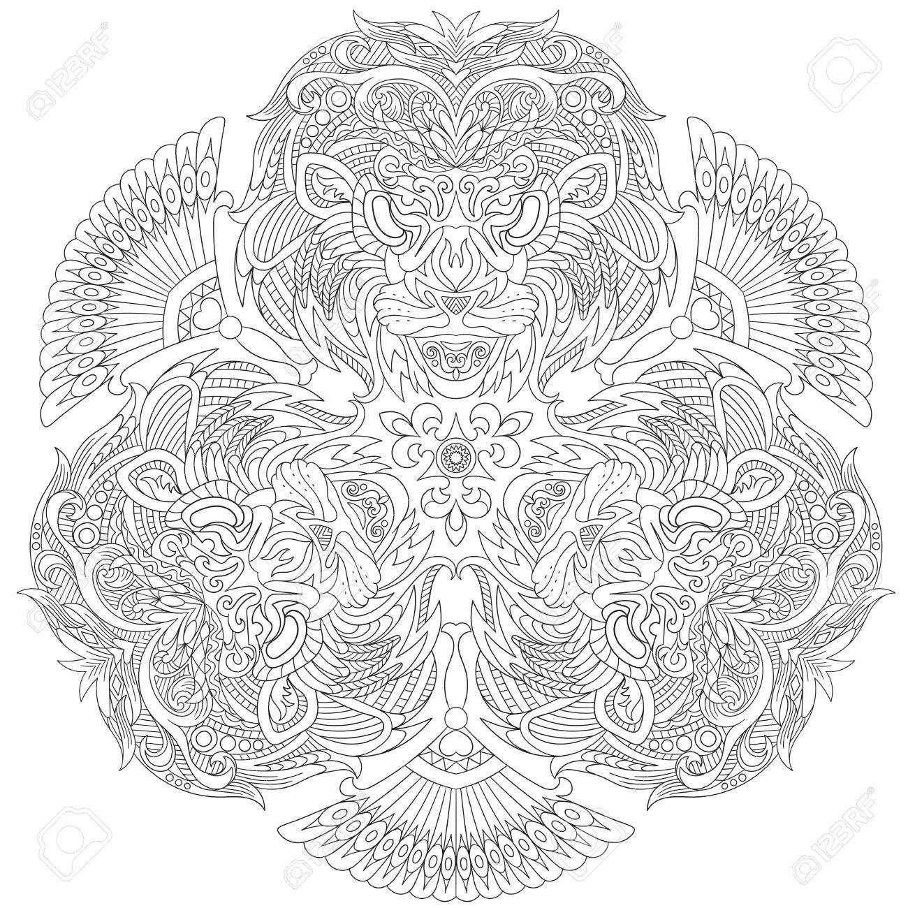 Coloring book for adults lion - Anti Stress Coloring Book Lion Stylized Cartoon Three Lion Masks Isolated On White Background Sketch