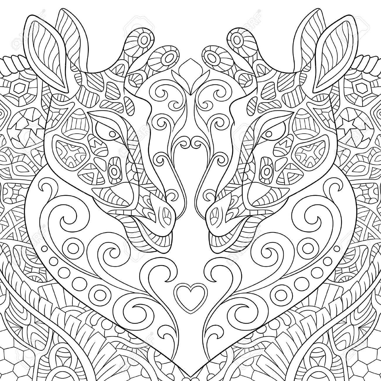 coloriage anti stress girafe