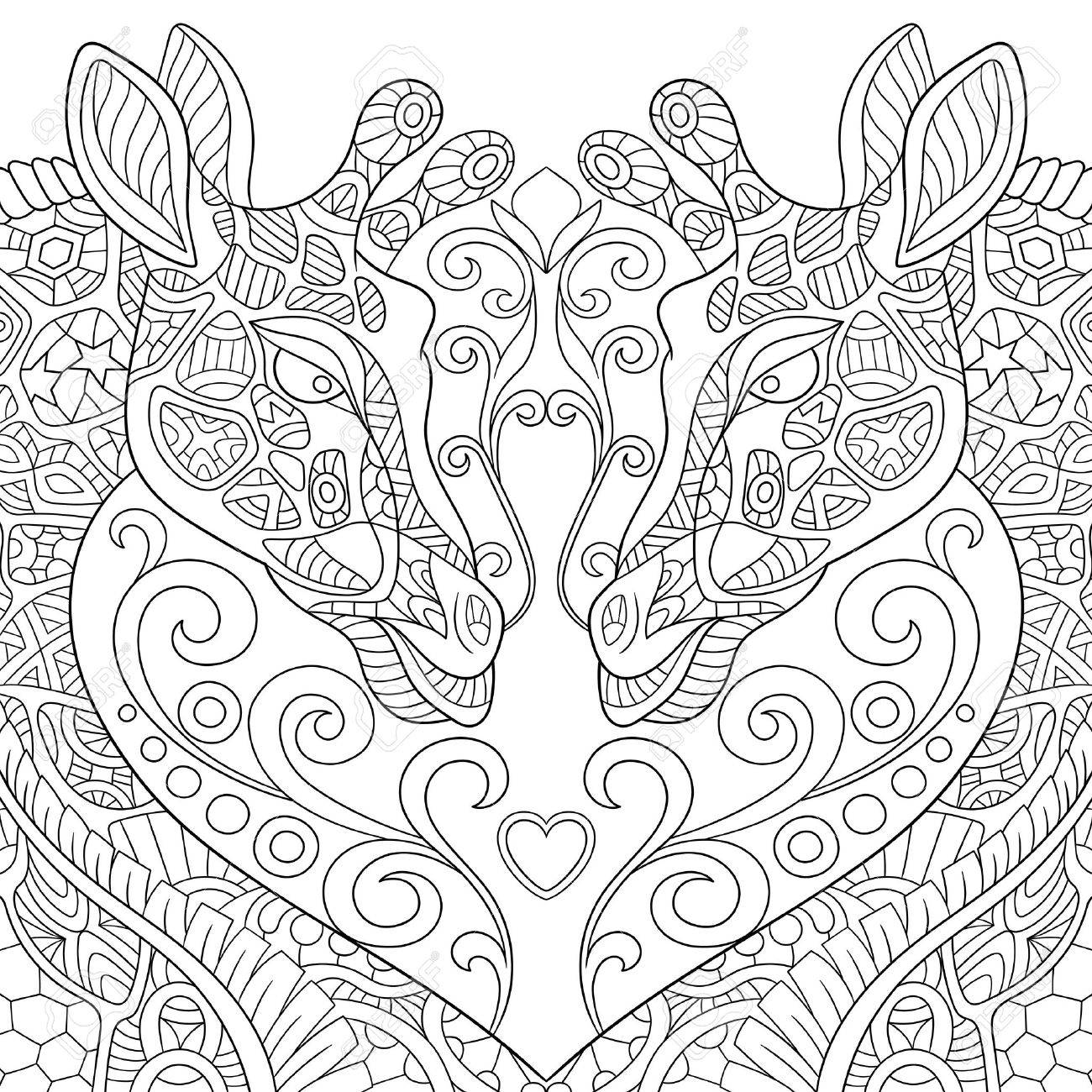 Stylized Two Cartoon Lovely Giraffes With A Heart Sketch For Adult Antistress Coloring Page