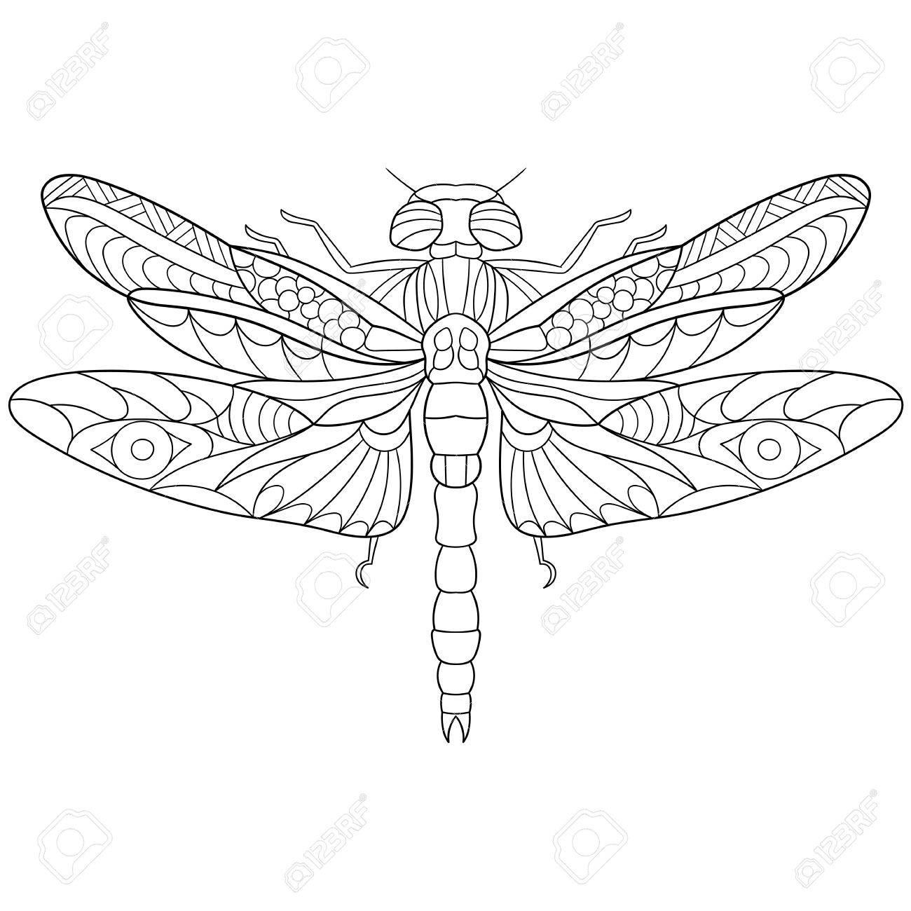 Stilisierte Karikatur Libelle Insekt, Isoliert Auf Weißem ...