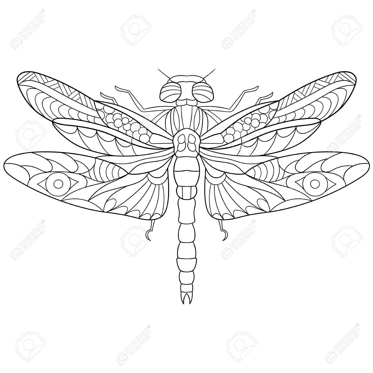 Stylized Cartoon Dragonfly Insect, Isolated On White Background ...