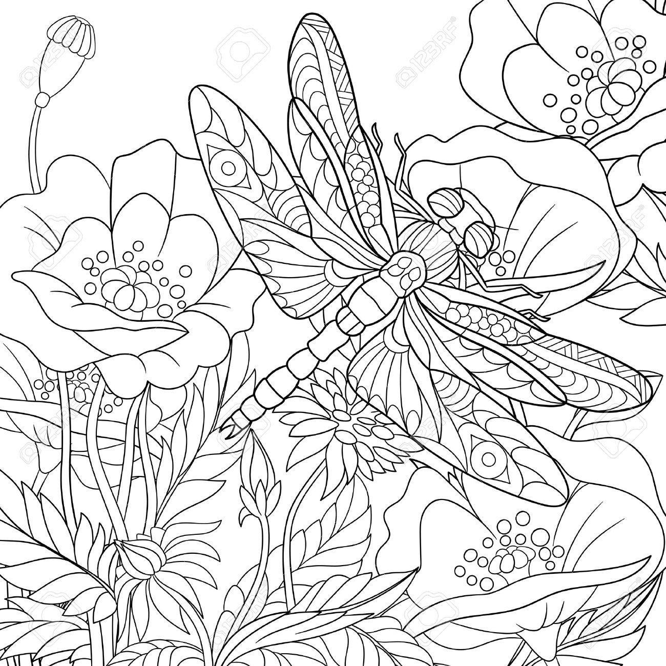 Coloriage Fleur Insecte.Stylise Dessin Anime Libellule Insecte Vole Autour Des Fleurs De