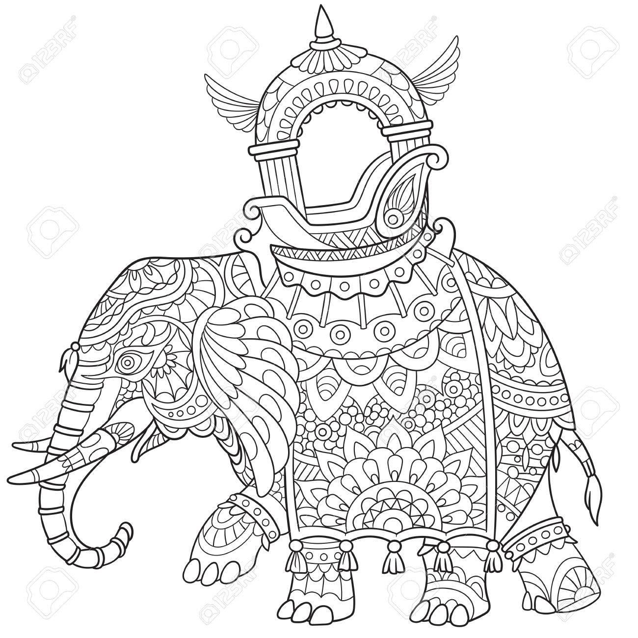 Elefante De Dibujos Animados, Aislado En Fondo Blanco. Boceto Para ...