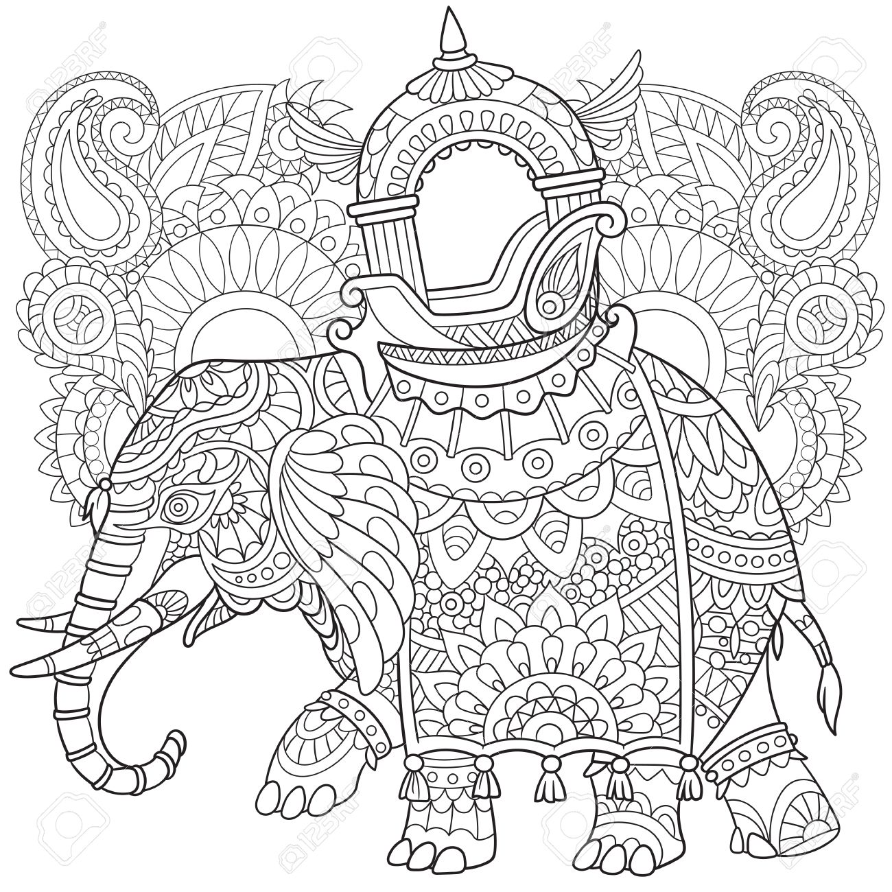 Cartoon Elephant With Paisley And Mehndi Symbols Sketch For Adult Antistress Coloring Page Hand