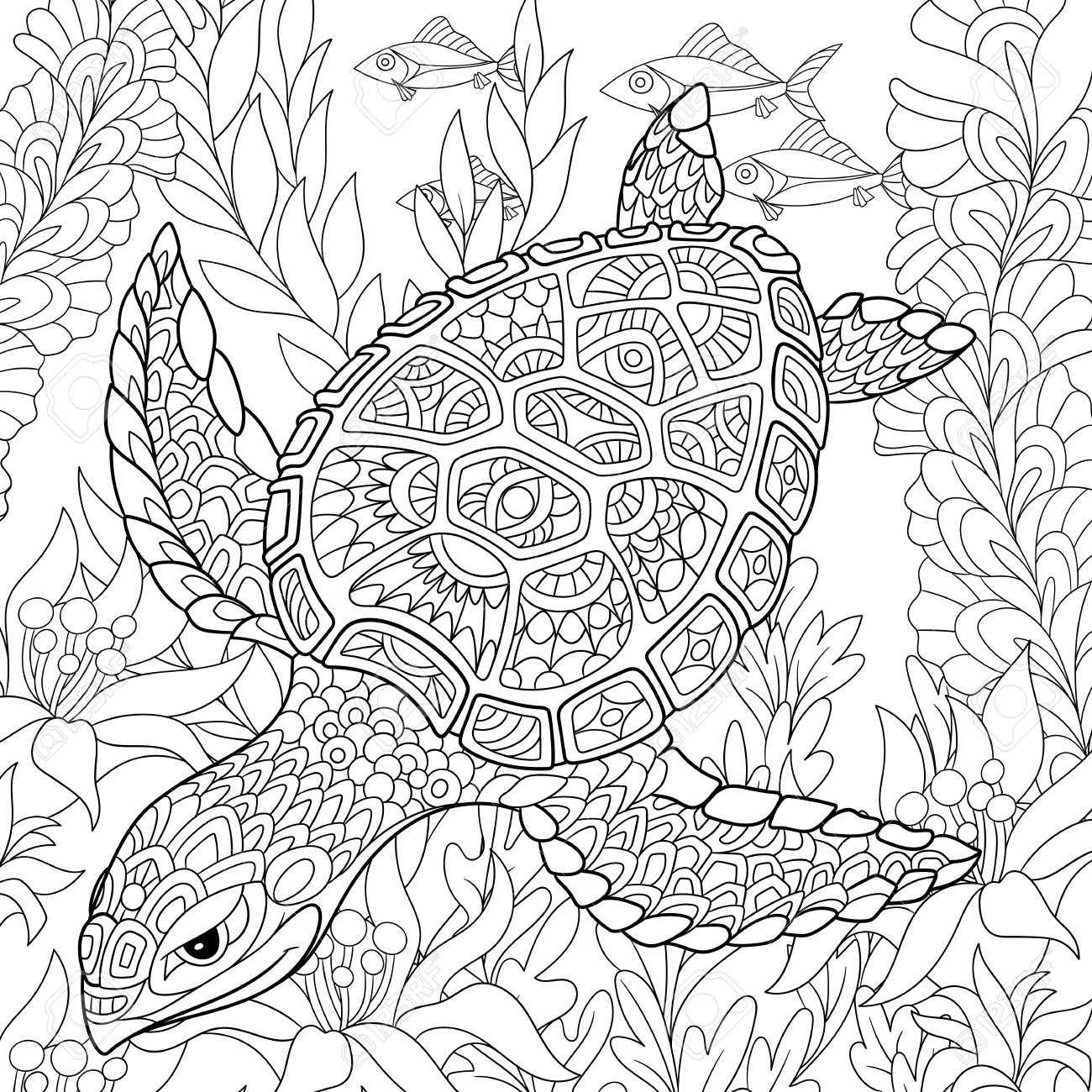 cartoon turtle swimming among sea algae hand drawn sketch for adult antistress coloring page - Turtle Coloring Pages For Adults