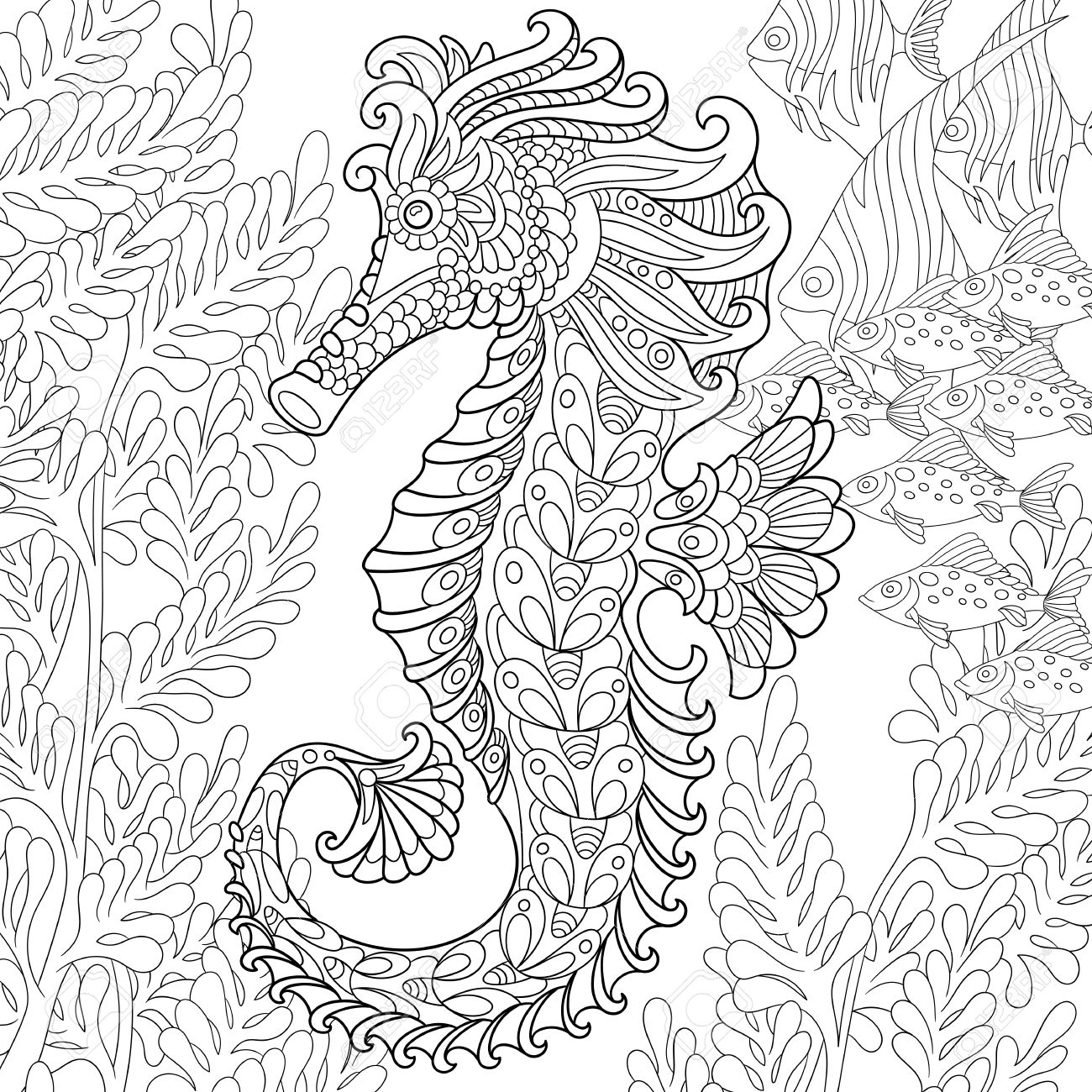 cartoon seahorse and tropical fish among seaweed hand drawn