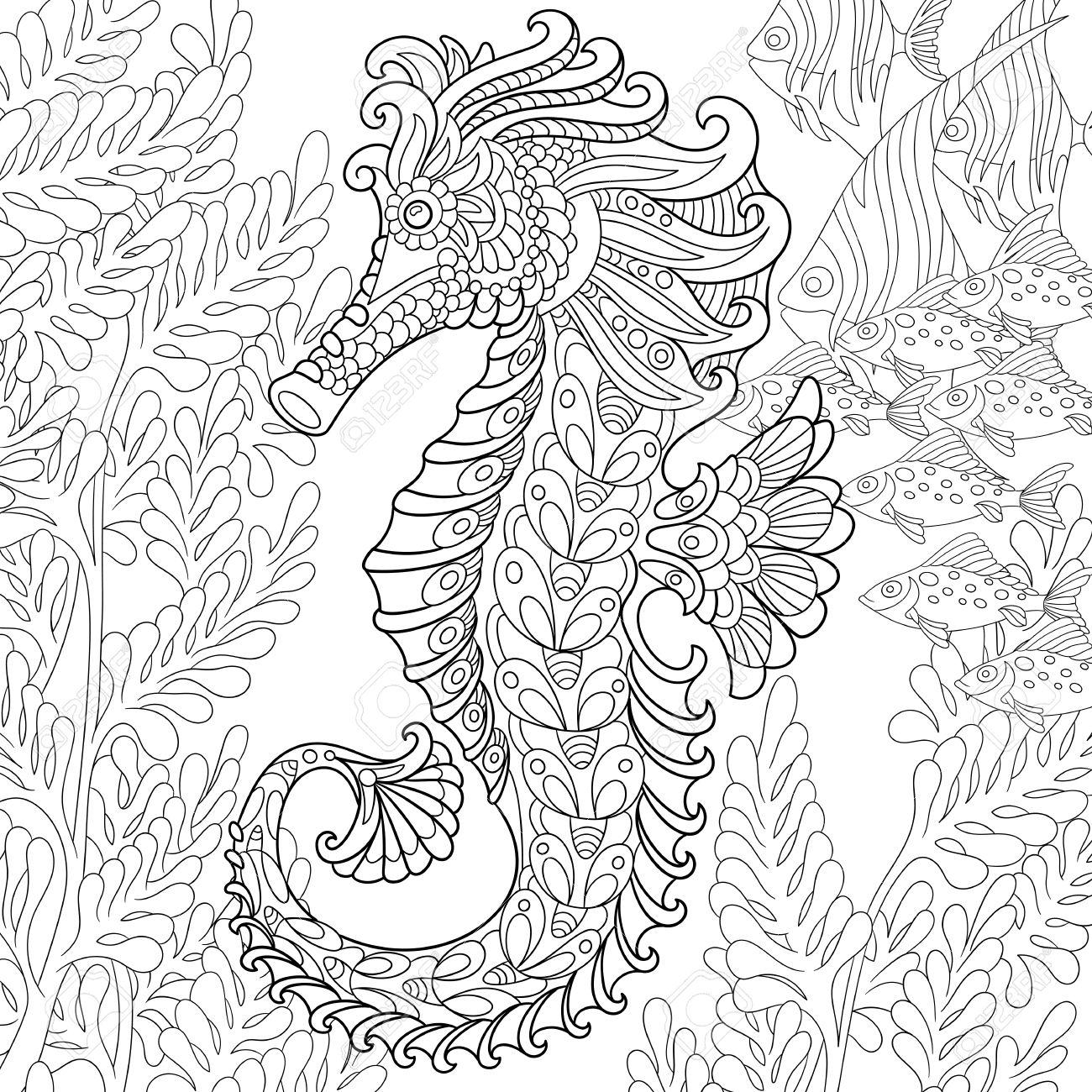 Cartoon Seahorse And Tropical Fish Among Seaweed. Hand Drawn ...