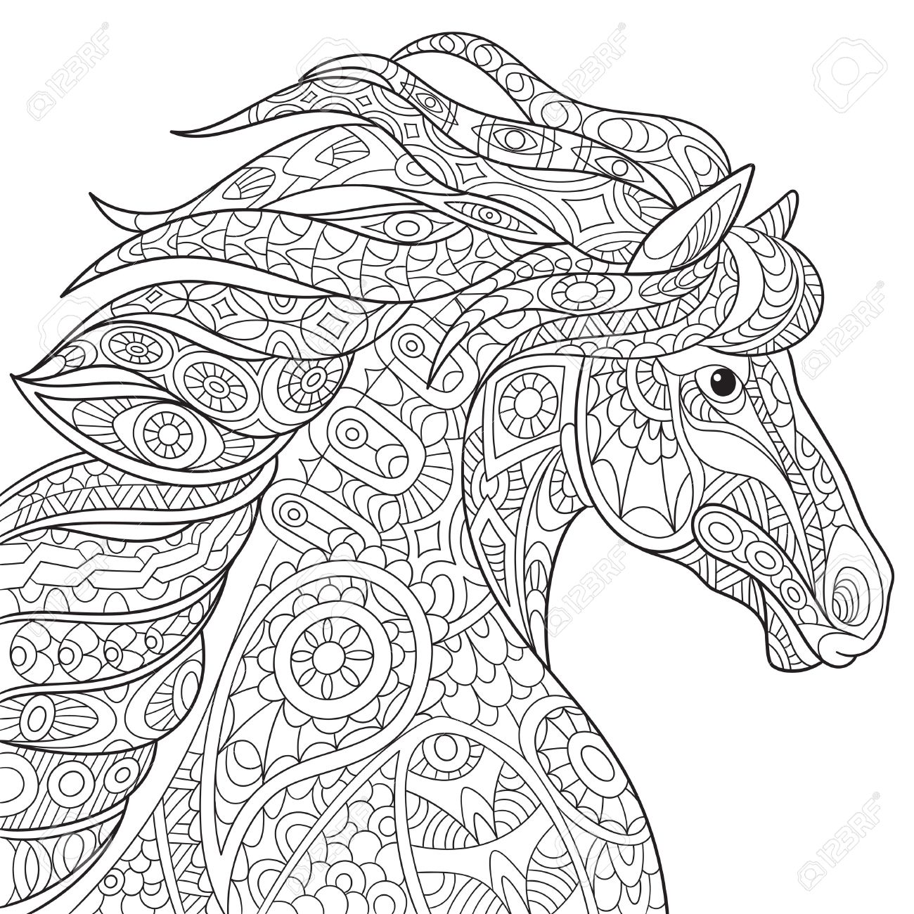 Cartoon Horse Mustang Isolated On White Background Hand Drawn Sketch For Adult