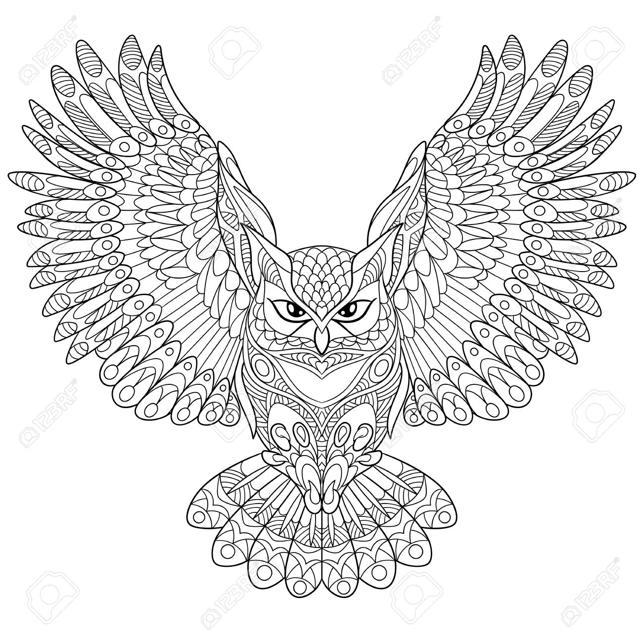 cartoon eagle owl isolated on white background hand drawn sketch