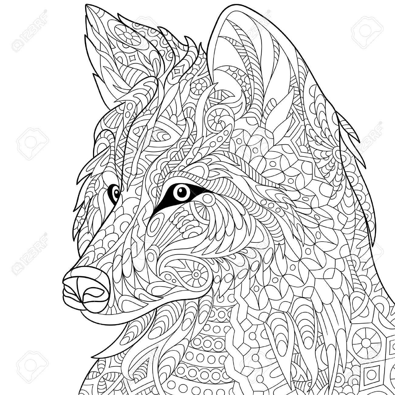 Gestileerde Cartoon Wolf Geïsoleerd Op Een Witte Achtergrond Hand Getrokken Schets Voor Volwassen Antistress Kleurplaat T Shirt Embleem Tattoo Met