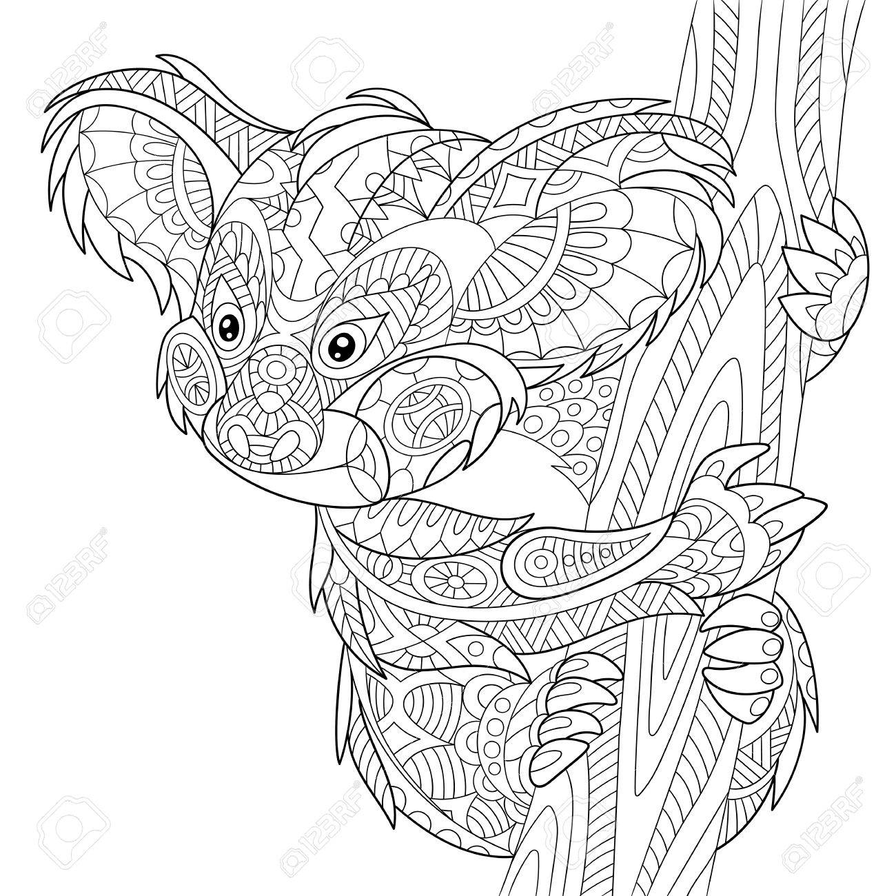 stylized cartoon koala bear, isolated on white background. Hand drawn sketch for adult antistress coloring page, T-shirt emblem or tattoo with doodle, floral design elements. - 56874135