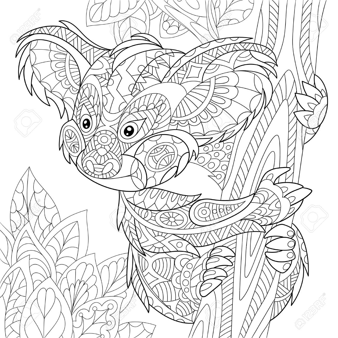 stylized cartoon koala bear sitting among tree leaves hand drawn