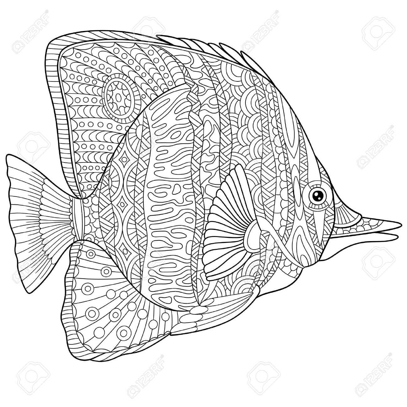 Gestileerde Cartoon Vlinder Vis Geïsoleerd Op Een Witte Achtergrond Royalty Vrije Cliparts Vectoren En Stock Illustratie Image 56874136