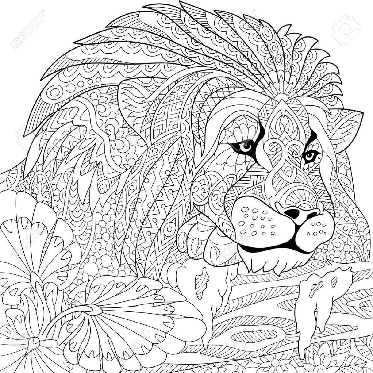 stylized cartoon lion (wild cat, leo zodiac) - 56874138
