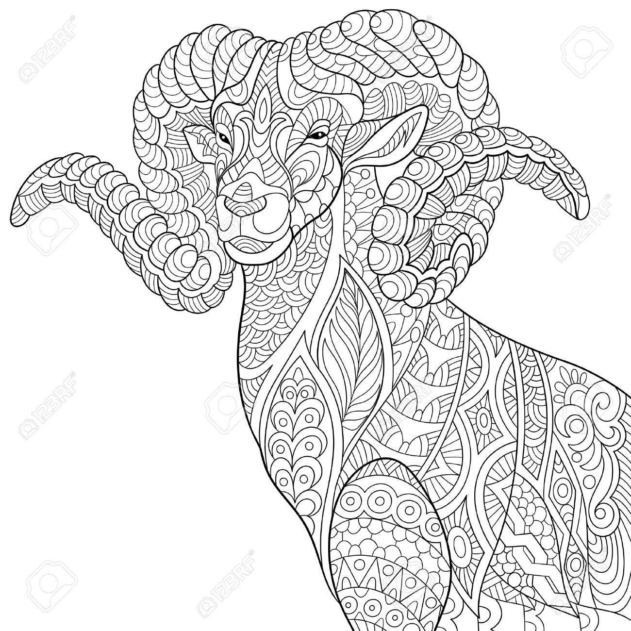 Stilisierte Karikatur Ziege Ram Steinbocke Widder Oder