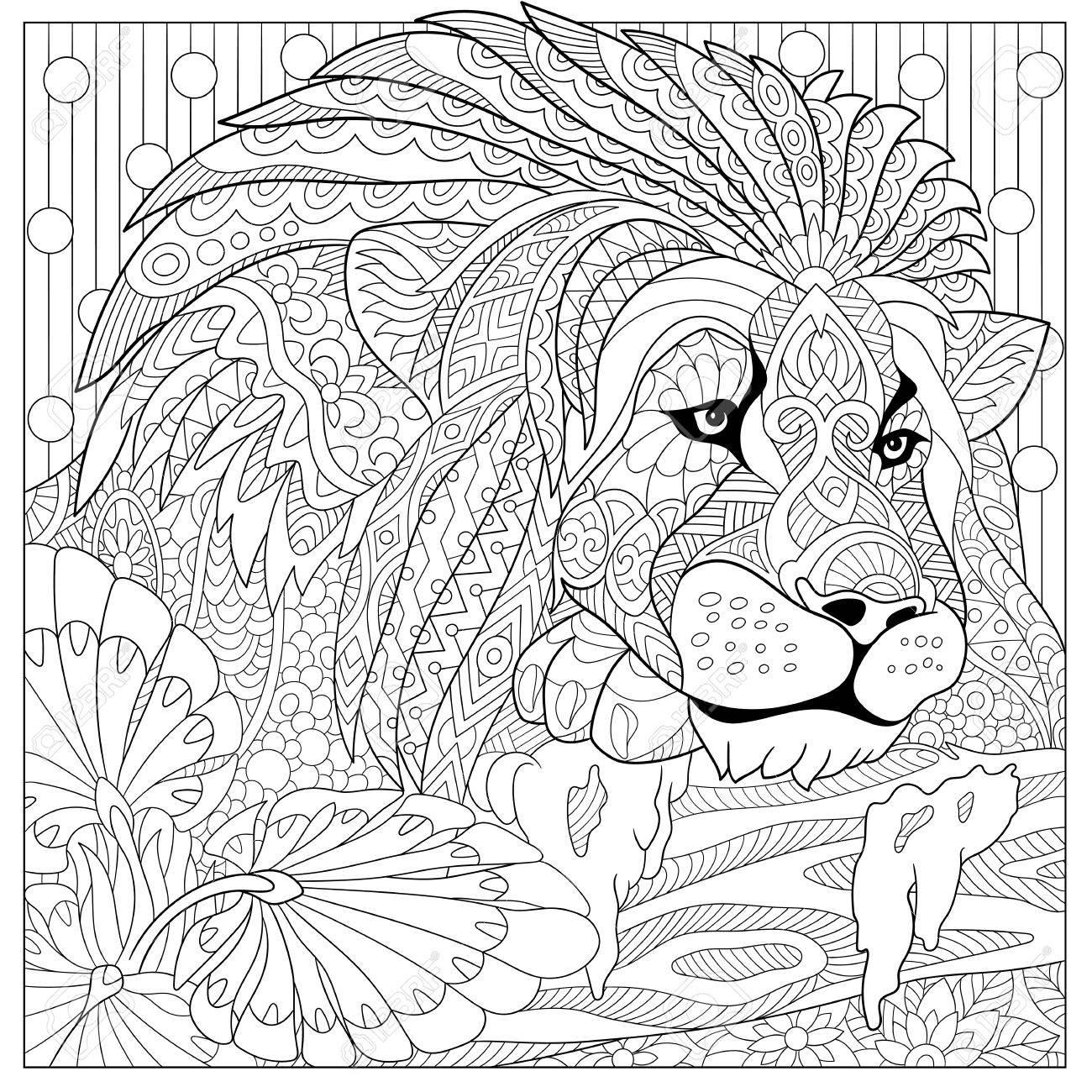 León De Dibujos Animados Estilizada Gato Salvaje Leo Zodiaco