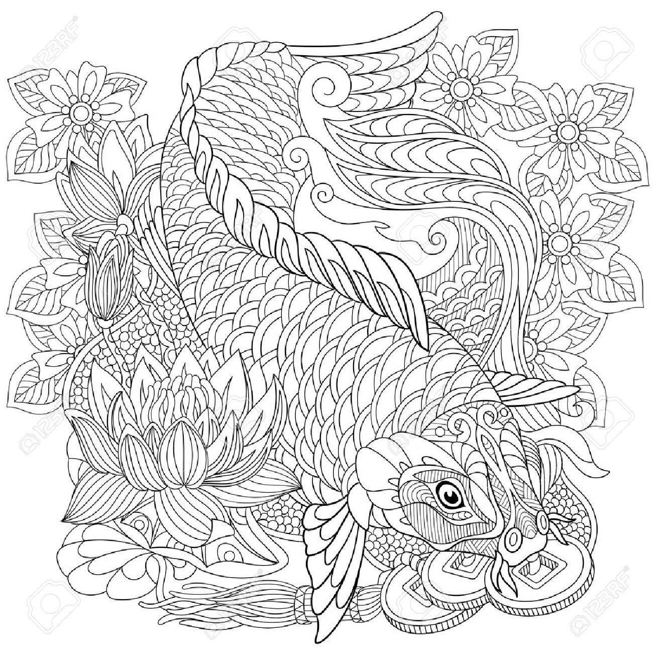 stylized cartoon koi carp - 58387319