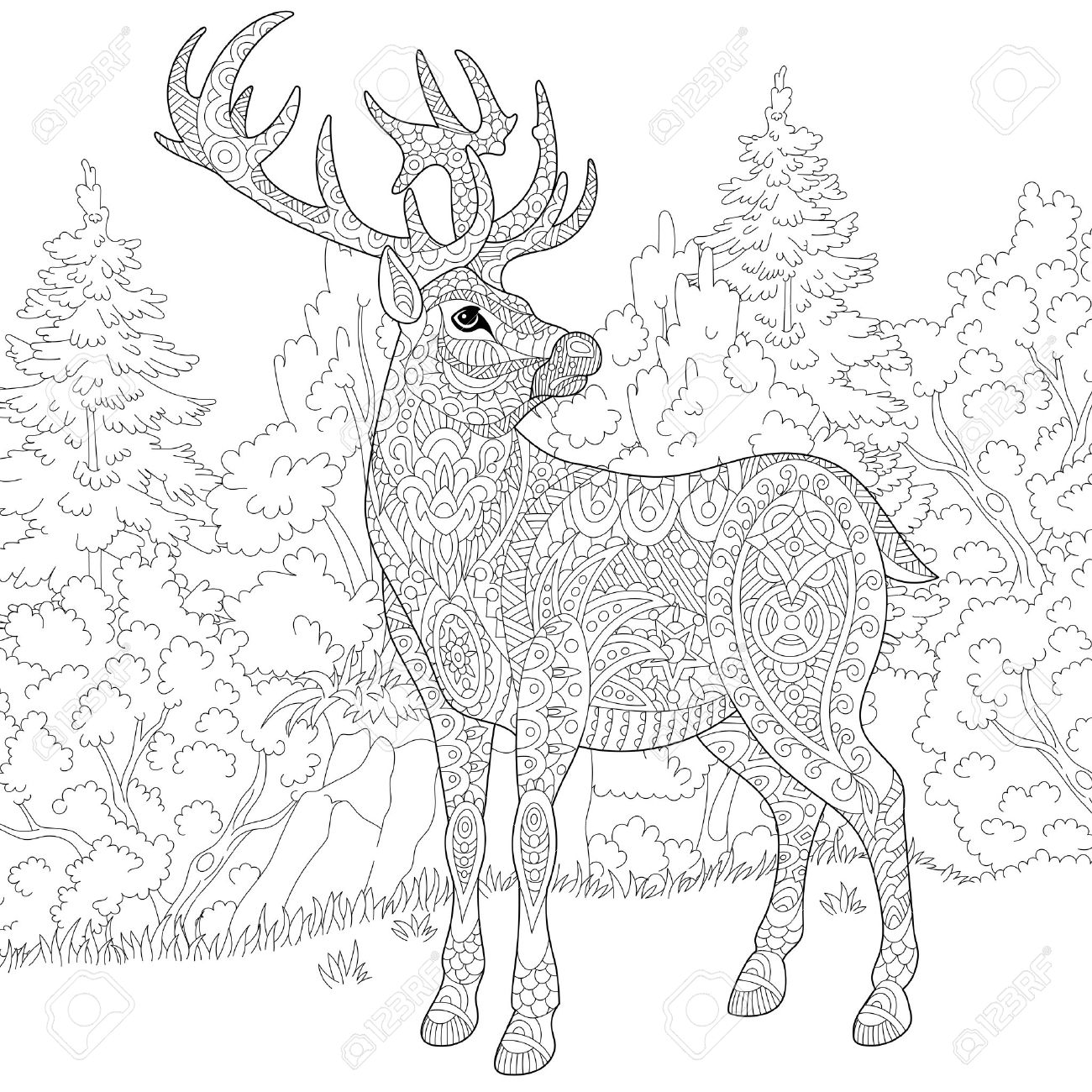 stylized cartoon deer (stag, christmas reindeer). sketch for adult antistress coloring book page, T-shirt emblem, or tattoo with doodle, and floral design elements. - 60323964