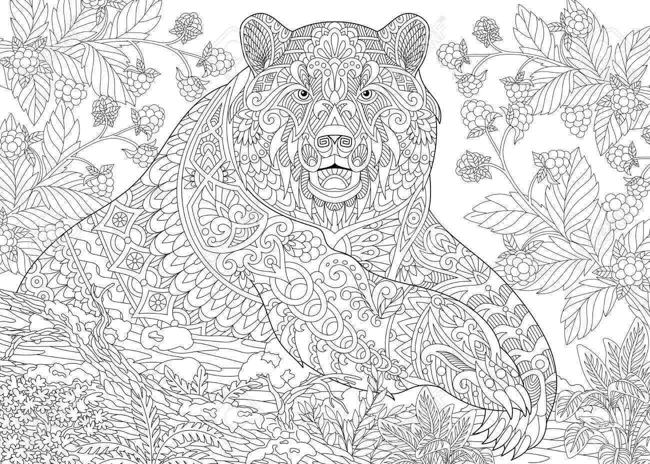 Stilisierten Cartoon-Bären (Grizzlybär) Unter Brombeeren Oder ...