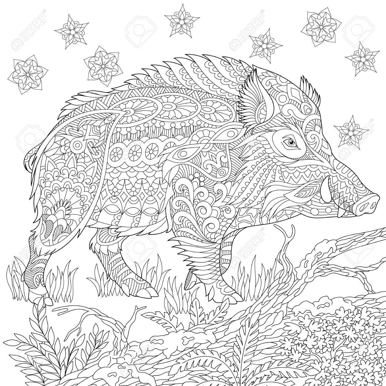 hog hunting stylized cartoon wild boar razorback warthog hog pig