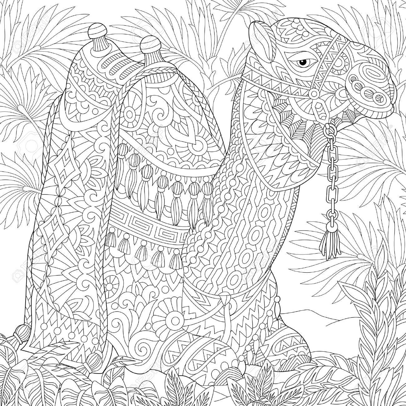 Stylized camel sitting among palm trees in desert oasis. sketch for adult anti stress coloring book page with doodle and elements. - 60323984