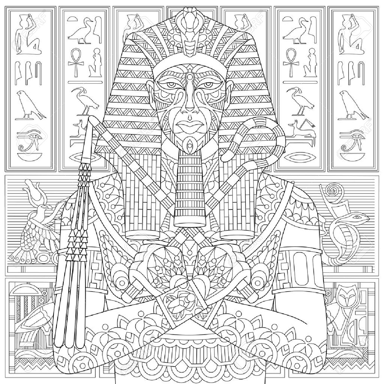 Stylized ancient pharaoh and egyptian symbols hieroglyphs on stylized ancient pharaoh and egyptian symbols hieroglyphs on the background freehand sketch for biocorpaavc