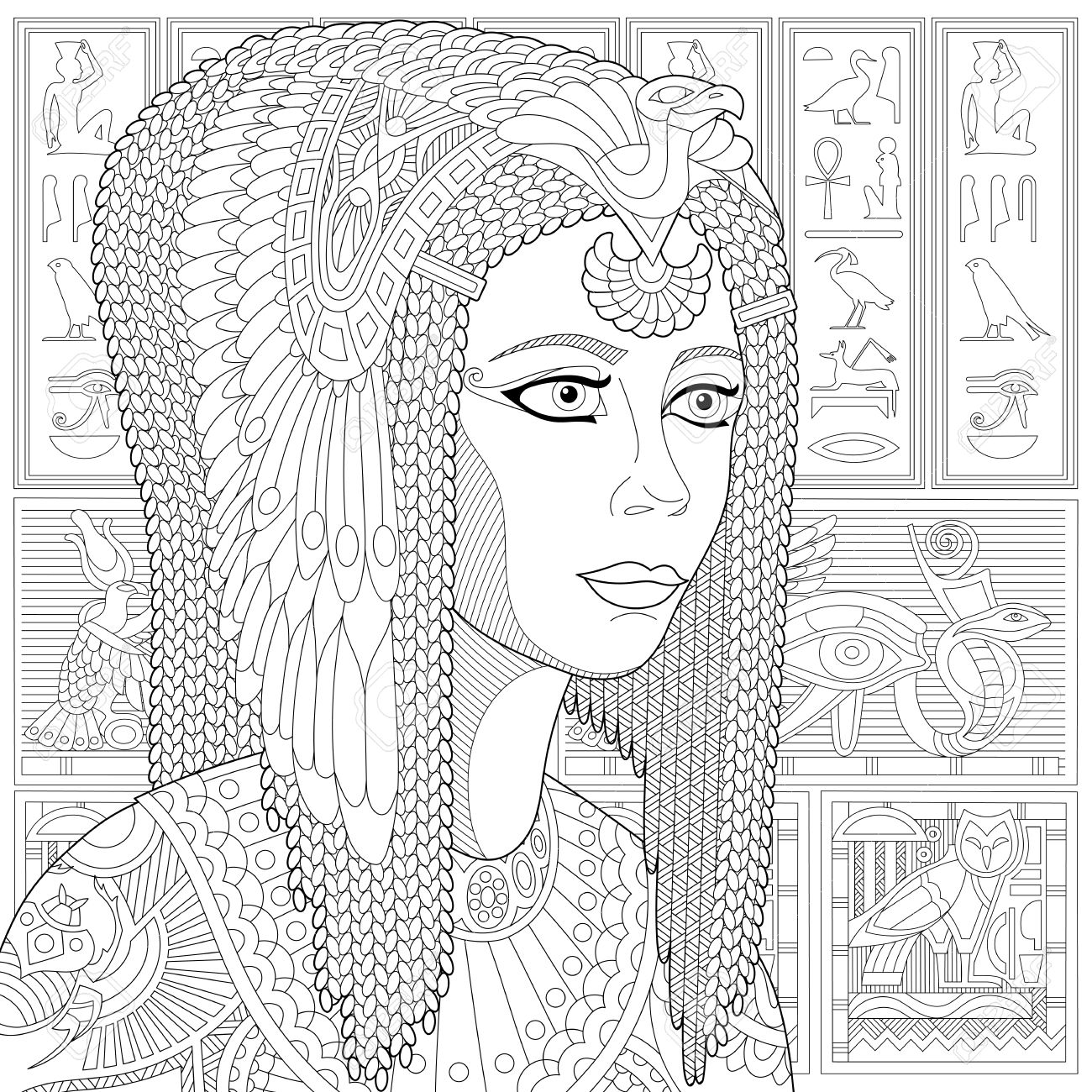 Stylized ancient queen Cleopatra (or Nefertiti) and egyptian symbols (hieroglyphs) on the background. Freehand sketch for adult anti stress coloring book page with doodle elements. - 61801616