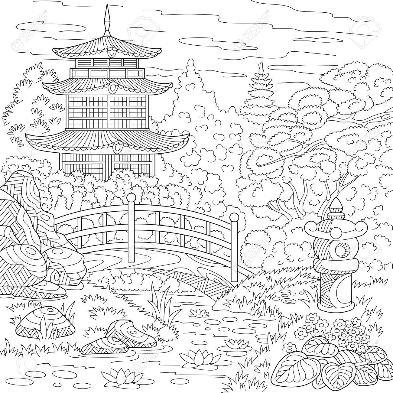 Stilisierte Orientalischen Tempel - Japanische Oder Chinesische Turm ...