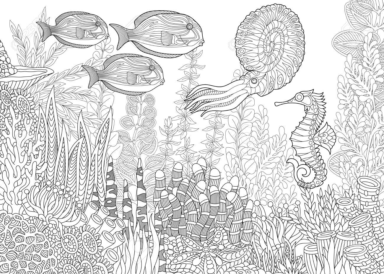 Composición Estilizada De Peces Tropicales, Caballitos De Mar ...