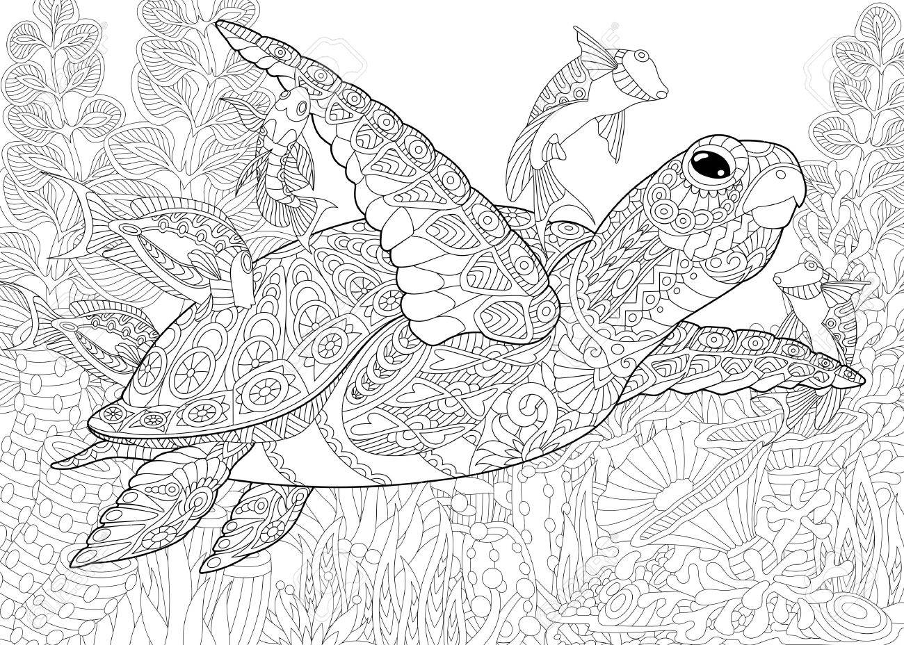 Coloring Book Page With Doodle And Zentangle Elements Stylized Composition Of Turtle Tortoise Tropical Fish Underwater Seaweed Corals