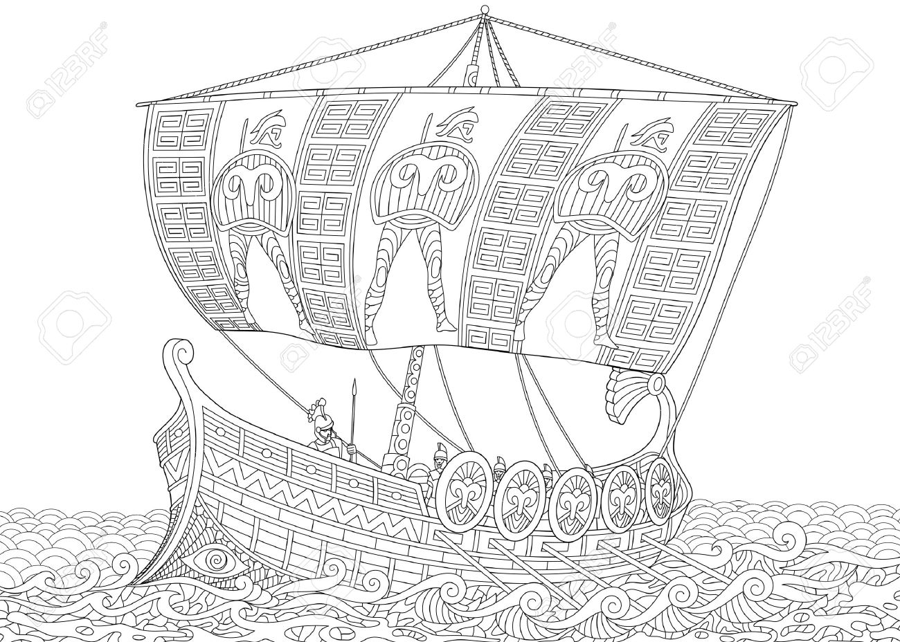 Stylized ancient greek galley (warship) with mast, sail, oars and warriors with spears and shields. Freehand sketch for adult anti stress coloring book page with doodle and zentangle elements. - 67183438