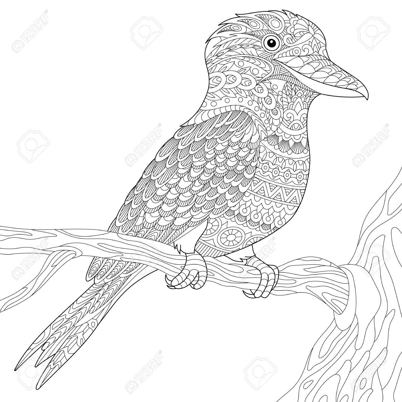 Stylized Australian Kookaburra Bird Isolated On White Background Freehand Sketch For Adult Anti Stress